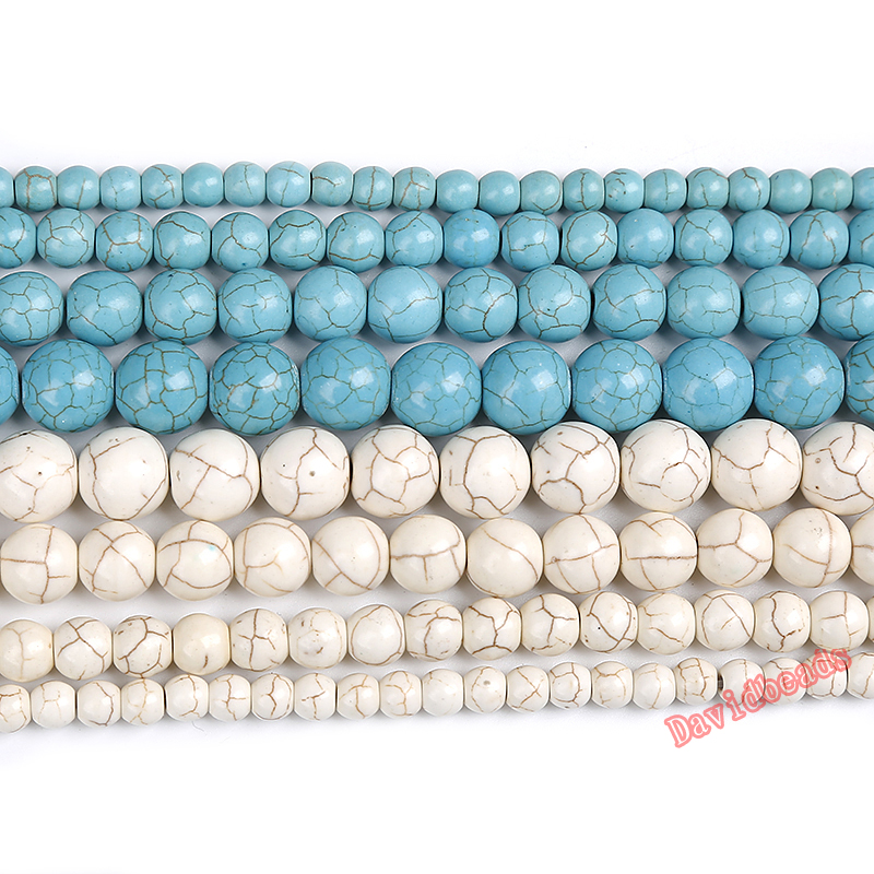 Wholesale White Turquoise Gemstone Round Loose Beads Charm Findings 8//10//12//14mm