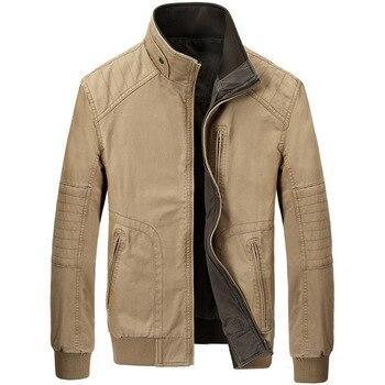 Brand ZHAN DI JI PU Reversible Jacket High Quality Stand Collar Zipper Embroidery Cargo Military Men Jacket casaco masculino
