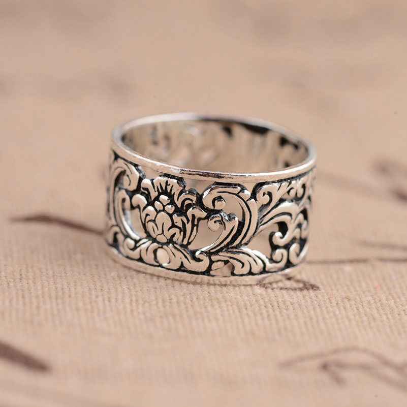 925 Silver Flower Rings For Men Women Jewelry Romantic 100% Real S925 Sterling Thai Silver Ring Size 5.5-8