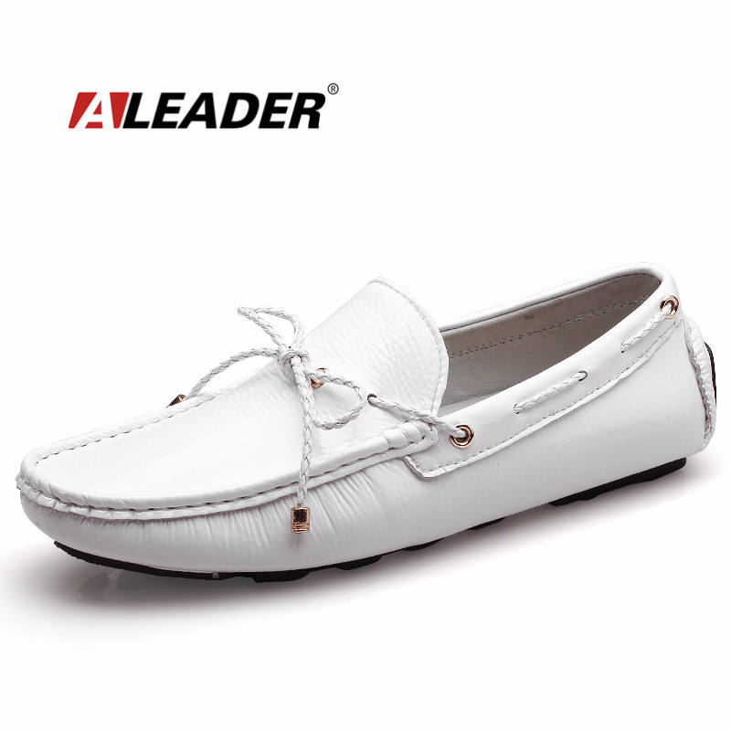 Mens Casual Loafers Shoes New 2017 Autumn Menu0026#39;s Patent Leather Driving Shoes Mocassin Classic ...