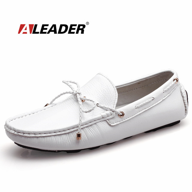 989da1e5d53 Mens Casual Loafers Shoes New 2017 Autumn Men s Patent Leather Driving Shoes  Mocassin Classic Flats Black White Loafers Boat