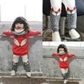 Meninas novas roupas de inverno Bonito Meninos e Meninas quentes De Espessura De Veludo Longo-sleeved Sweater Terno Pequeno Pedaço de Raposa Dos Desenhos Animados roupa dos miúdos