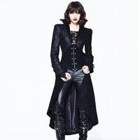 Панк Женская зимняя длинная куртка плащ Готический сексуальный длинный рукав ветровка пальто костюм на Хэллоуин