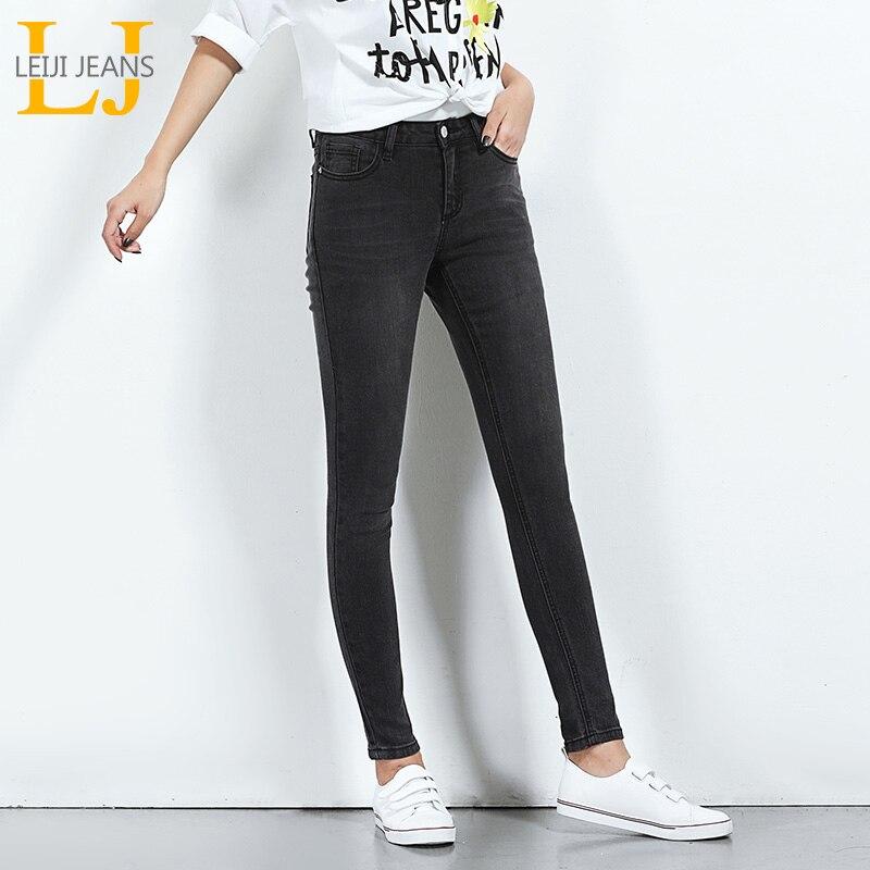 LEIJIJEANS 2018 Vente Chaude Ressort Plus La Taille Solide Couleur Mi Taille Pleine Longueur Maigre Occasionnel Femmes Stretch Bien Cool Jeans 5616