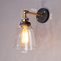 Lámpara de pared de cristal de luz de pared vintage 110V 220V lámpara de pared del dormitorio para comedor sala de estar café Luz