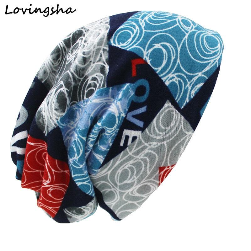 LOVINGSHA Fashion Brand Autumn Winter Dual-use Hats For Ladies Thin Skullies Beanies Vintage Design Women Scarf Face Mask HT029