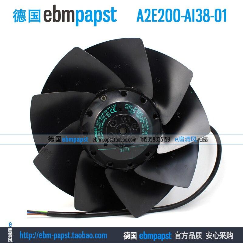New original ebm papst A2E200-AI38-01 AC 230V 0.3A 0.34A 64W 78W 200x200mm Outer rotor fan new original ebm papst iq3608 01040a02 iq3608 01040 a02 ac 220v 240v 0 07a 7w 4w 172x172mm motor fan