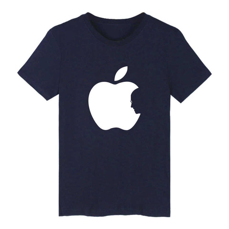 Hot Sale Apple Steve Jobs 4-color Cotton TShirt Plus Size Short Sleeve T Shirts in Fashion Biting Apple Funny T-shirt XXS 4XL 3