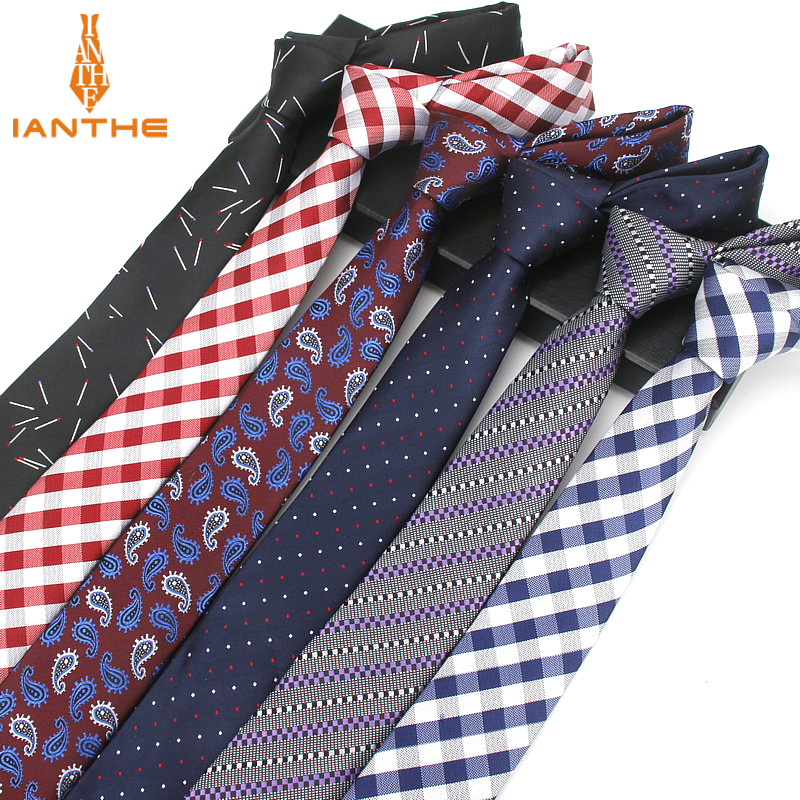 2018 Brand New 6cm Jacquard Men's Striped Tie For Men Fashion Neckties Man's Neck Ties For Wedding Business Plaid Dot Necktie