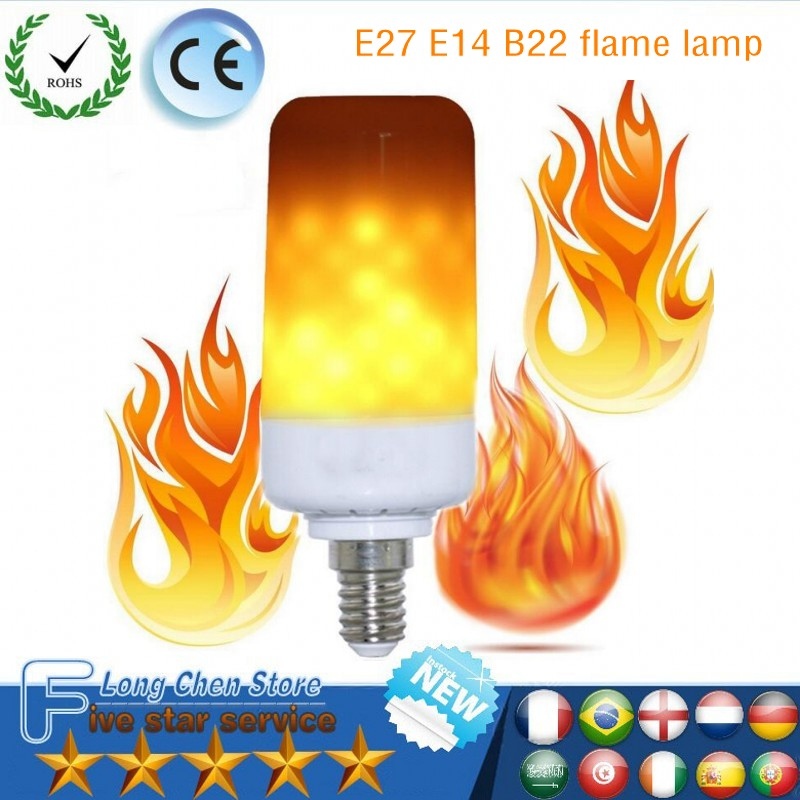 E27 E14 B22 Led Flame Lamps LED Flame Effect Light Bulb 85~265V Flickering Emulation Fire Lights 9W Decorative Lamp