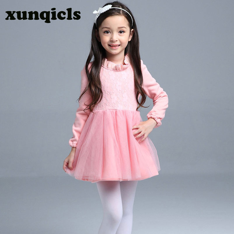xunqicls Spring children long sleeved dress autumn girls dresses winter warm kid plus thick velvet warm clothes тизерная сеть эквалайзер на заднее стекло