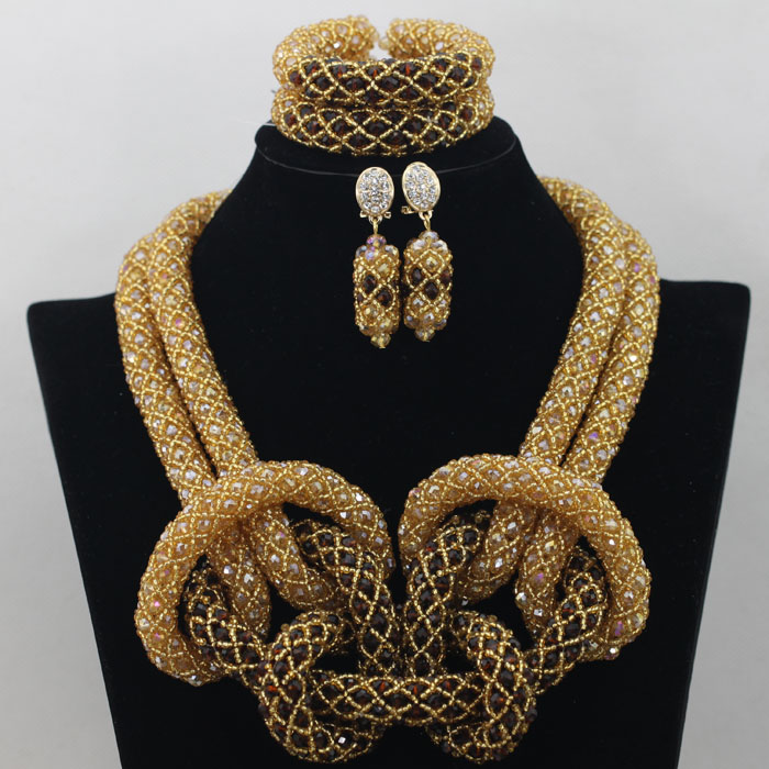 Royal Purple African Costume Jewelry Sets Gold Indian Bridal Necklace Set Full Big Beads Balls Free Shipping HX108 In From