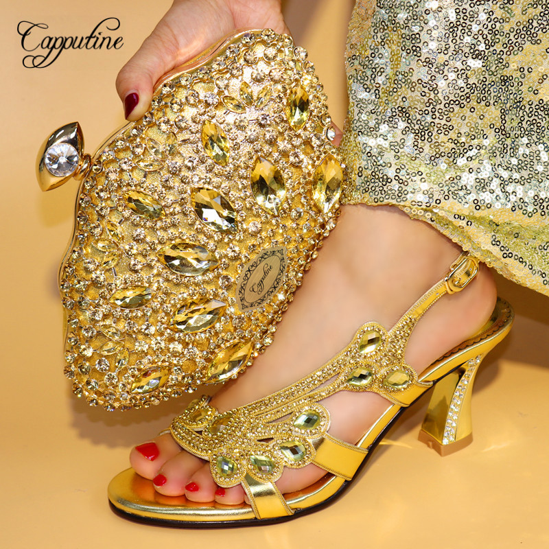 Capputine Latest Gold Color Italian Shoes And Bags To Match Nigerian Style High Heels Shoes And Purse Match Set For Party TX-08 capputine summer style africa low heels woman shoes and bag fashion slipper shoes and purse set for party size 38 42 tx 8210