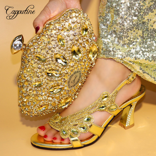 Capputine Latest Gold Color Italian Shoes And Bags To Match Nigerian Style  High Heels Shoes And 489878b9c8d2