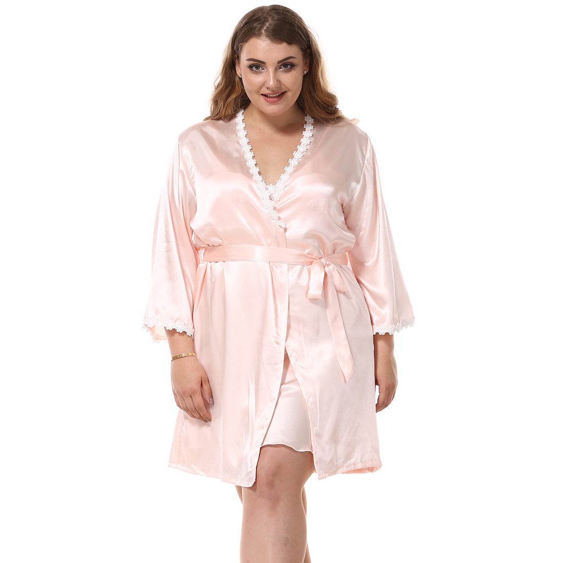 Elegant Women Spring Summer Robe Set Plus Size Xxxl Flower Trim Kimono Bathrobe Gown Suit Satin 2 Pcs Sleepwwear Female Nighty
