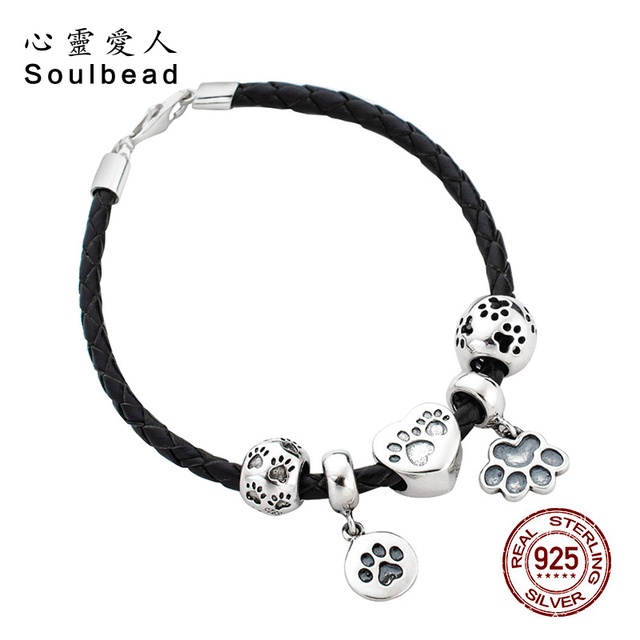 901c2ee22 Soulbead Black Braided Leather Bracelet with Pet Dog Paw Print Charms 925 Sterling  Silver Lobster Clasp for Girl Gifts