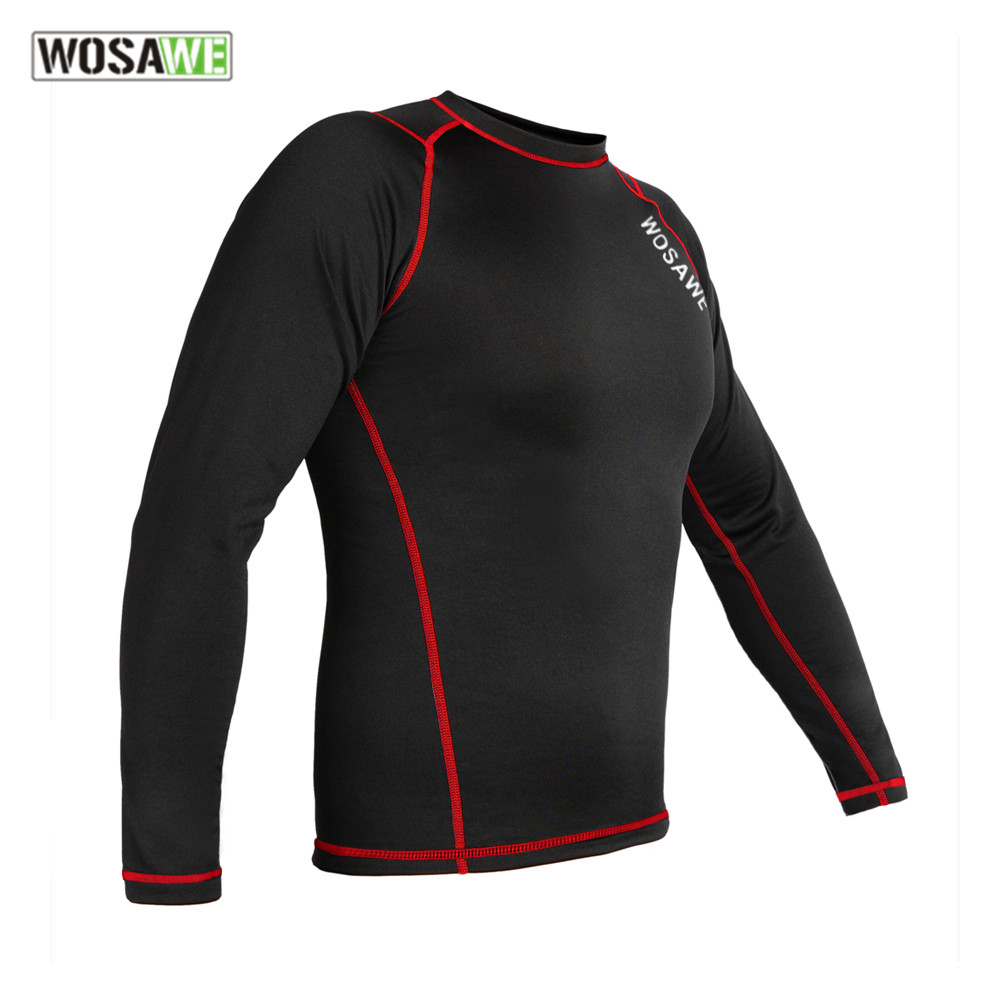 WOSAWE Heren Winter Fleece Thermisch Motocross Ondergoed Onderhemd Lange Mouwen Kleding Top T-Shirts motocross Basis Lagen