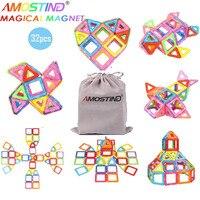 Amosting 32pcs Magnetic Building Blocks Model Building Toys Brick 3D DIY Magnetic Blocks For Kids