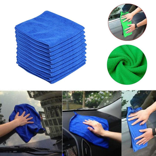 10PC Blue Car Cleaning Detailing Mirofiber Soft Polish Cloths Towel l0401