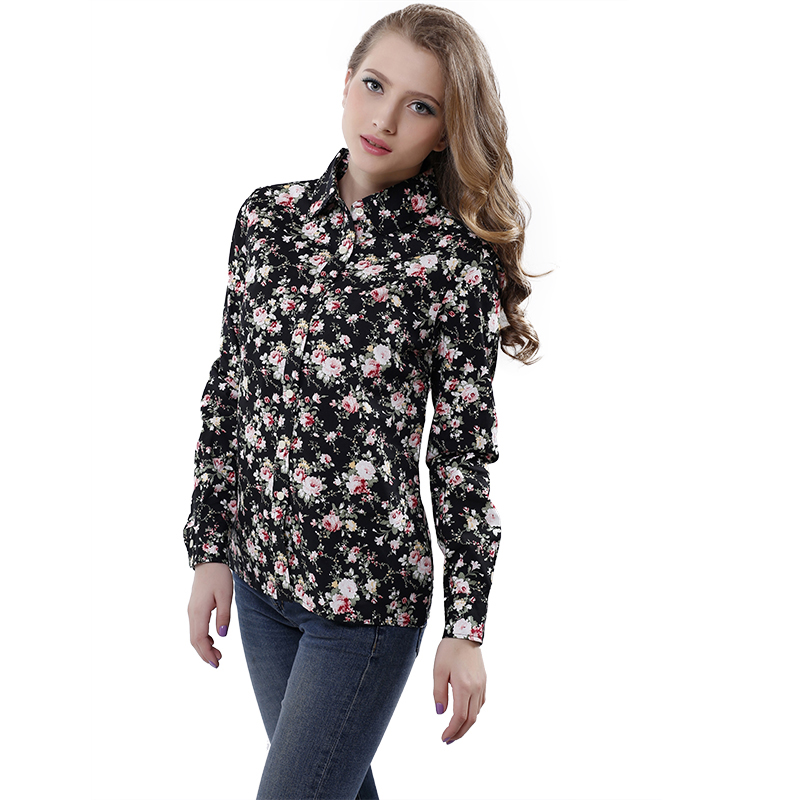 lollas New Women's Floral Print Blouses Cotton Shirts Women Vintage Turn  Down Collar Tops Ladies Work Long Sleeve Blouse-in Blouses & Shirts from  Women's ...