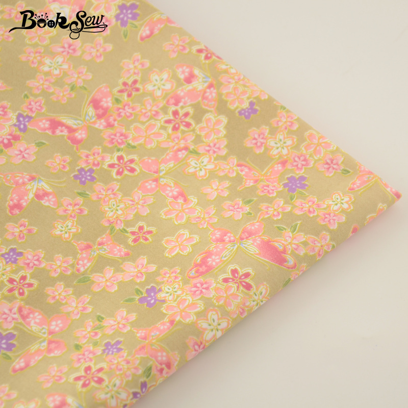 Flower and Butterflies Design Brown Color 100% Cotton Fabric Fat Quarter Quilting Material Bed Sheet Patchwork CM Home Textile