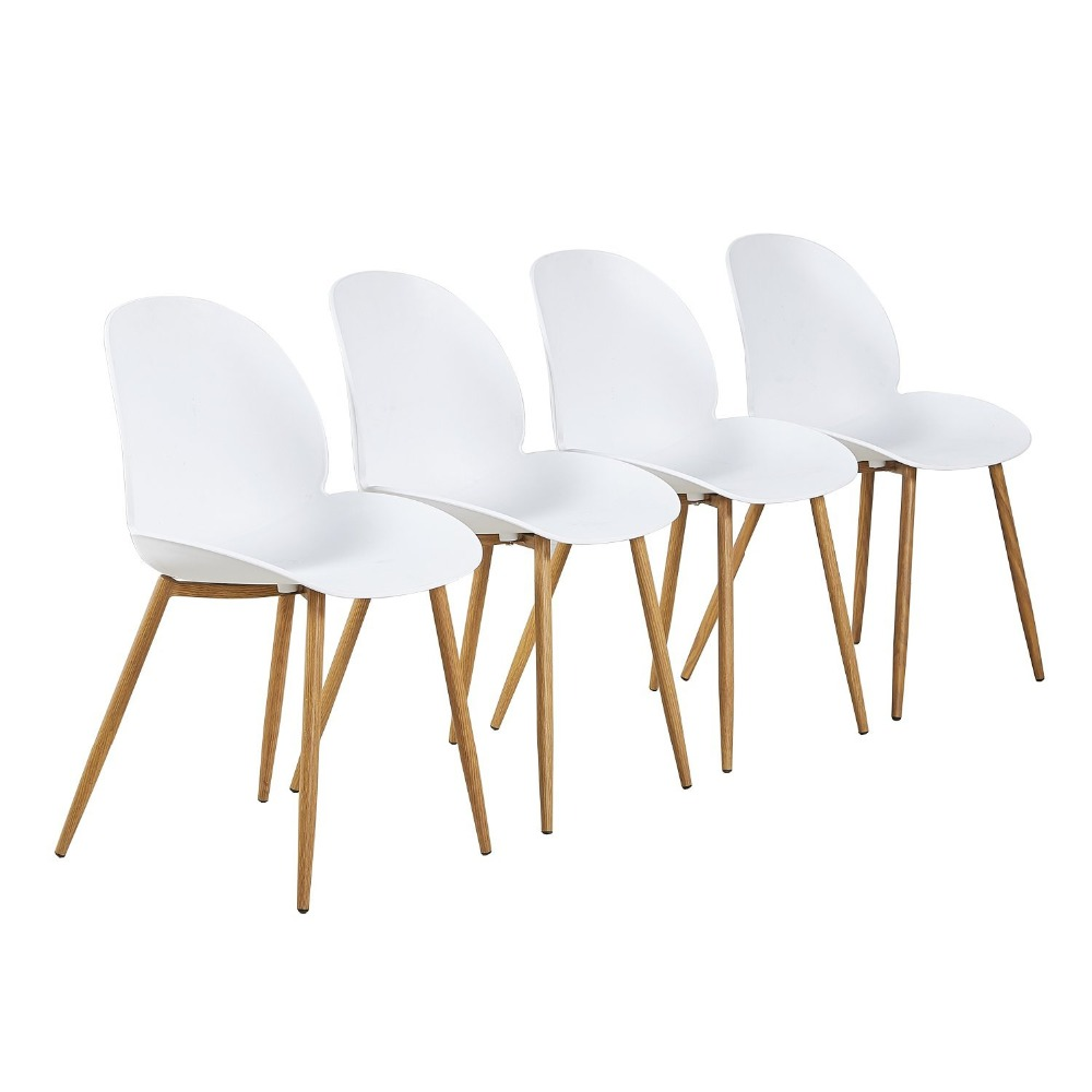 EGGREE 4 Pieces Design Chair Retro Dining Style Kitchen Chair Office Chair Vintage Modern Lounge Chair with Backrest - White dining chair the lounge chair creative cafe chair