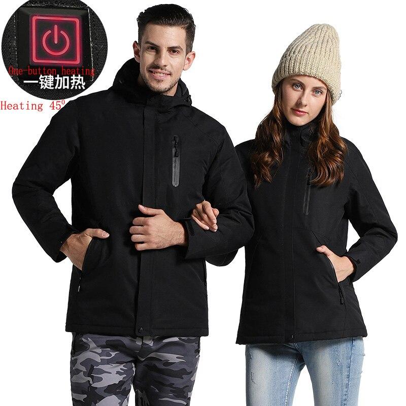 Hiver USB-chauffage veste vêtements pour hommes randonnée manteau Parkas mâle 2018 vêtement de sport coupe-vent hommes femmes extérieur vestes et manteaux