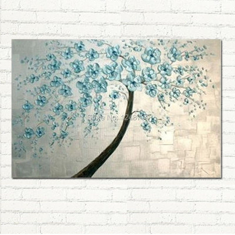 Modern abastract blue flower painting Home Wall Decor Abstract Canvas handpainted palette font b knife b