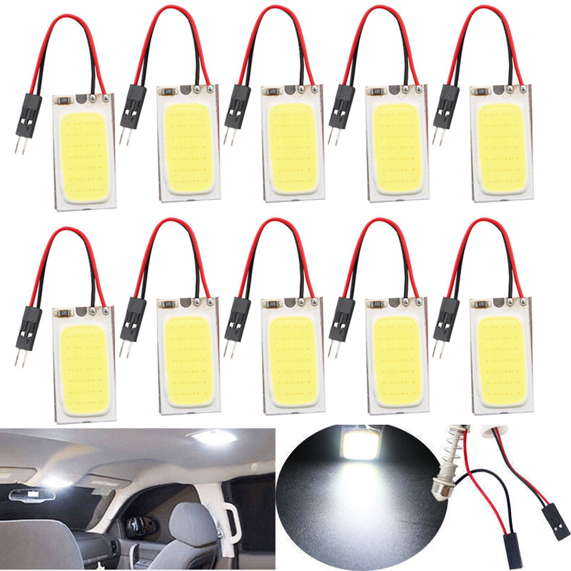 10pcs 12V 6W 48 SMD COB Chip LED Car Interior Dome Panel T10 Festoon Light Bulb Super White Lamp Lamp Car Styling g4 4w 380lm 3000k ac 12v led cob car bulb cabinet dome light soft white