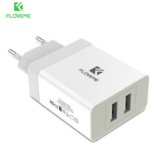 FLOVEME 2 Ports USB Charger 5V 3.4A Portable Travel Chargers Mobile Phone USB Charger for iPhone Laptop iPad Tablet Accessories