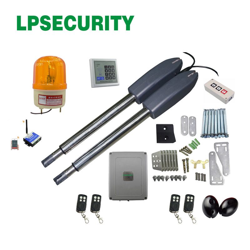 LPSECURITY 24VDC electric automatic swing gate opener motor for steel wooden gate(sensor,button,lamp,RFID keypad, gsm optional)