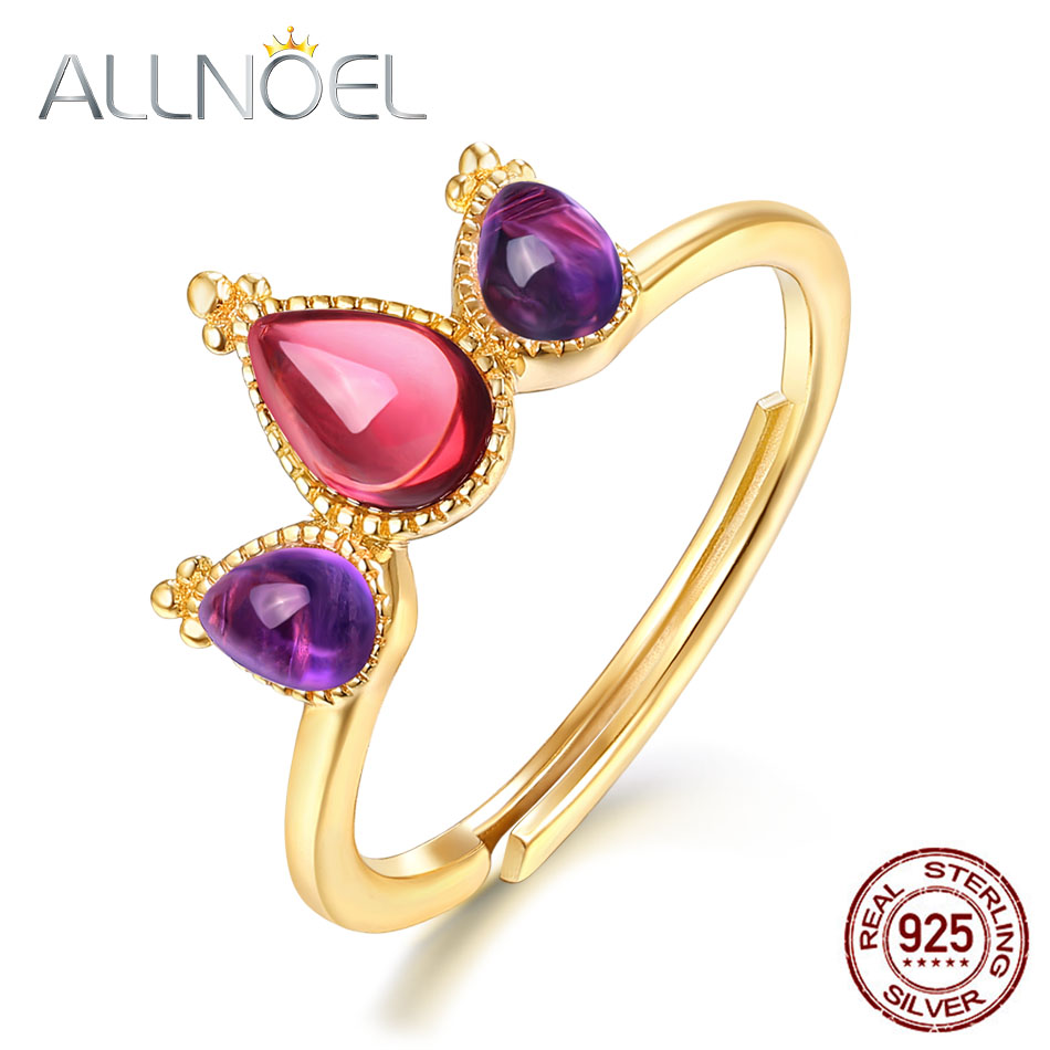 ALLNOEL Solid 925 Sterling Silver Rings For Women 6*4mm Mozambic Garnet Amethyst Promise Ring Valentines Gift Fine Jewelry 2019ALLNOEL Solid 925 Sterling Silver Rings For Women 6*4mm Mozambic Garnet Amethyst Promise Ring Valentines Gift Fine Jewelry 2019