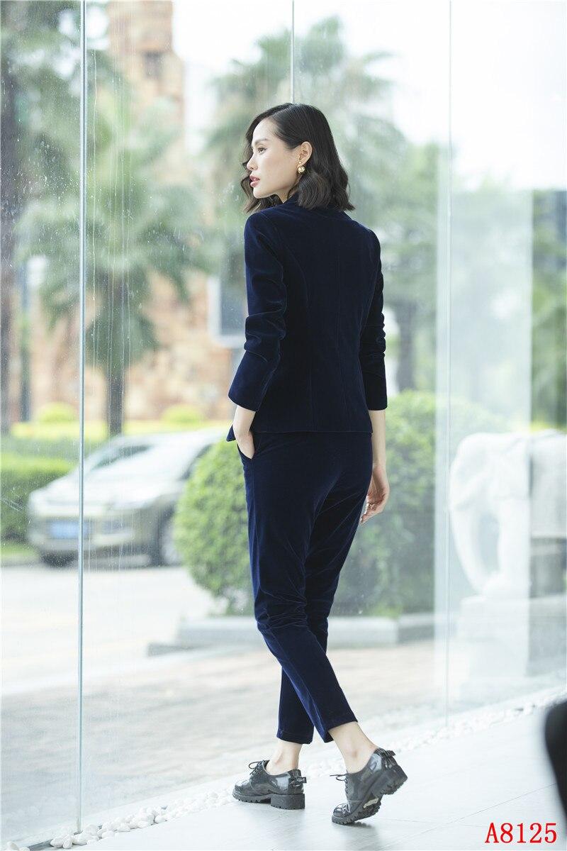 Veste Femelle automne Avec Ensemble marron D'affaires marine Pleuche Noir Costumes Vêtements Hiver Pantalon Haute Blazer Bleu Dames Noir Fiber Femmes Et Qualité q6gwxvOa
