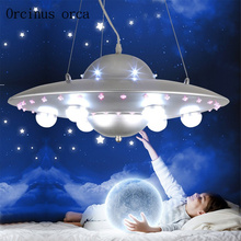hot deal buy cartoon creation color led flying saucer chandelier boy girl bedroom children's room lamp cartoon spaceship chandelier
