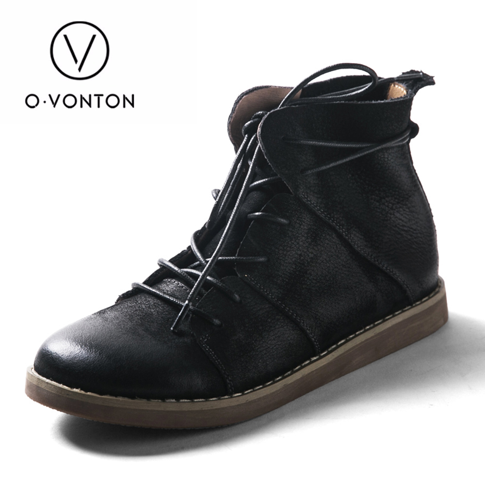 Q.VONTON Genuine Cow Leather Lace up Boots Girls Ankle Boots Female Casual Naturalism Shoes front lace up casual ankle boots autumn vintage brown new booties flat genuine leather suede shoes round toe fall female fashion