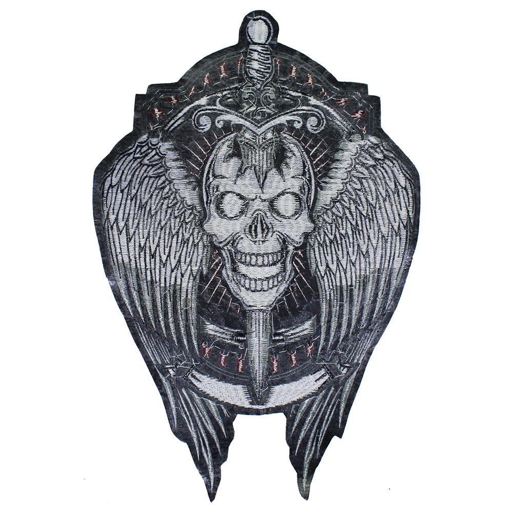 Rebel Skull Wings Large Back Embroidered Patch Badge Sew On Iron On Jacket Fabrics Applique Transfer UK Seller