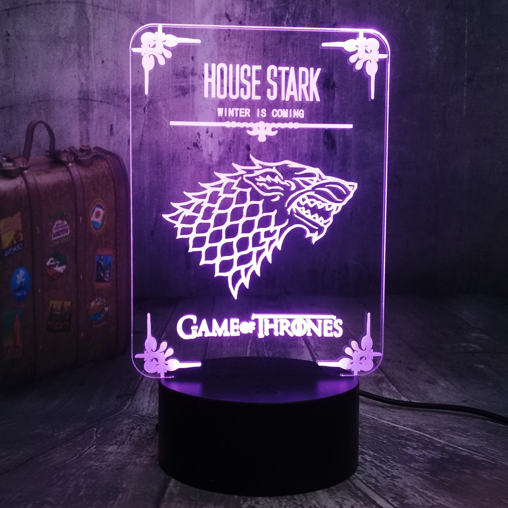 NEW House Stark Game Of Thrones A Song Of Ice And Fire Wolf 3D LED Night Light Desk Lamp Party Bedroom Decor Fans Christmas Gift
