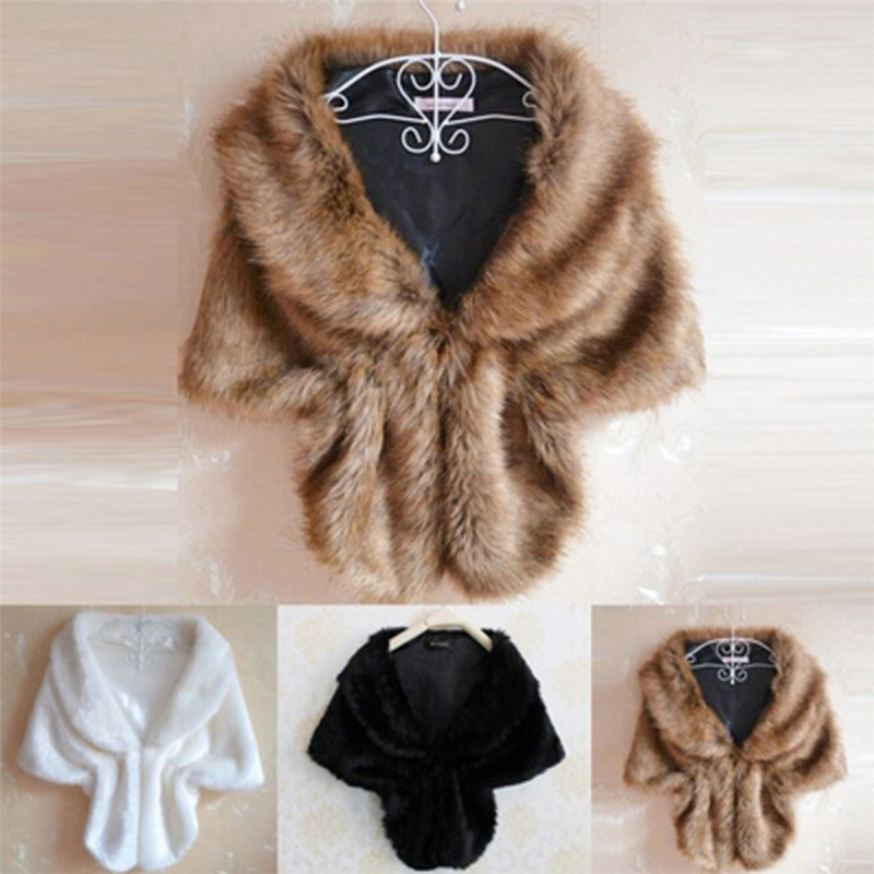 Lady Plush Faux Fur Shawl Wrap Bridal Wedding Jacket Gilet Stole Waistcoat Bolero Shrug Cape Black White Brown Stylish