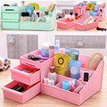 Cute Candy Color Plastic Makeup Organizer Storage Box Toiletry Desktop Stand Case with Drawers Home Office Supplies Makeup Tool