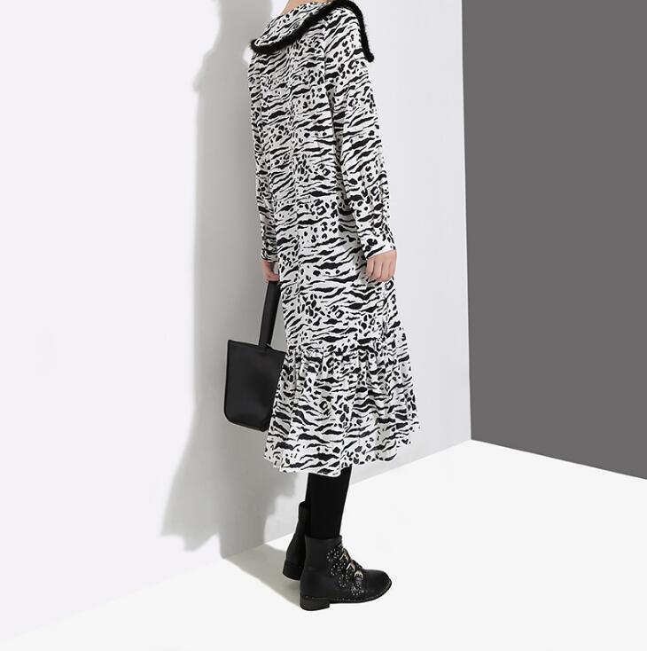Color Nouveau 2019 photo Liva Hem Color Femmes Imprimé Ruches Motif Printemps Taille Manches À Hiver Grande Robe Longues Mode Photo Marée Fille Revers REEq51F