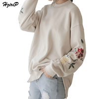 HziriP 2017 New American Apparel Hoodies Women Elegant Flowers Embroidery Long Sleeved Pullover Sweatshirt Fashion High