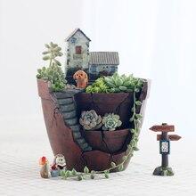 Creative Castle House Shaped Resin Garden Pot New Novelty Bonsai Plant Flower for Rural Planter Office Desk Decoration