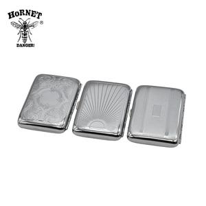 Image 5 - 1х металлическая круглая для сигарет чехол (95 мм * 73 мм) Холдинг 16 сигареты обычного размера (85 мм * 8 мм) табачный Чехол Коробка хром с 2 зажимами