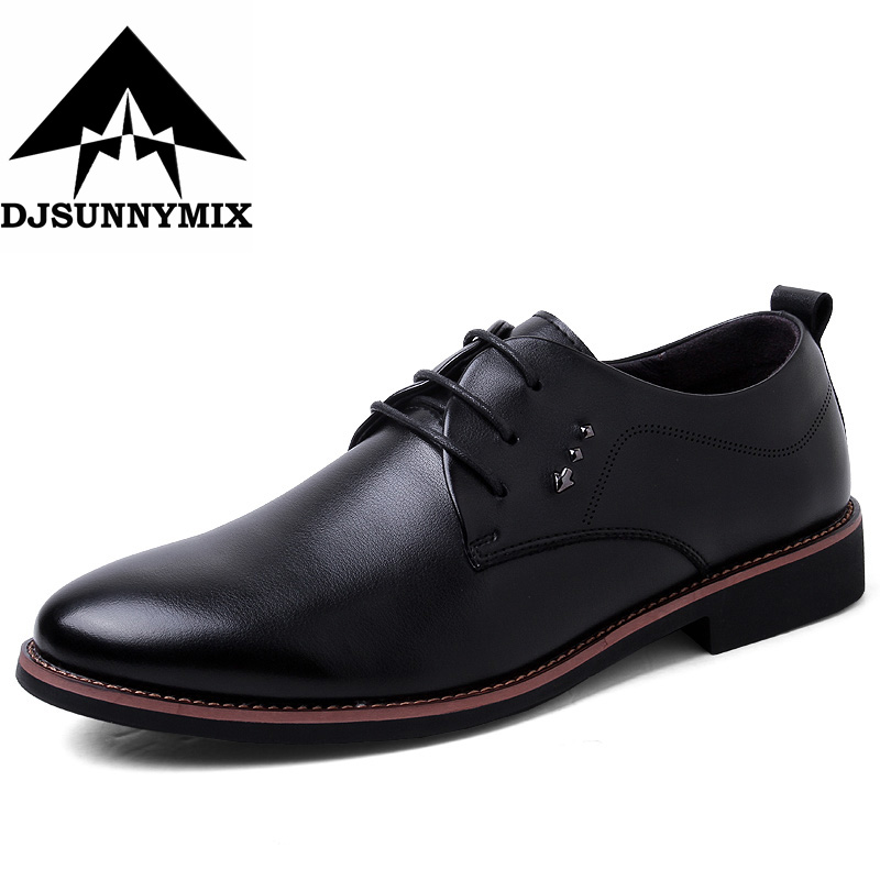 DJSUNNYMIX Brand  Italian Fashion formal mens dress shoes genuine leather black brown wedding male shoes 2017 top quality crocodile grain black oxfords mens dress shoes genuine leather business shoes mens formal wedding shoes