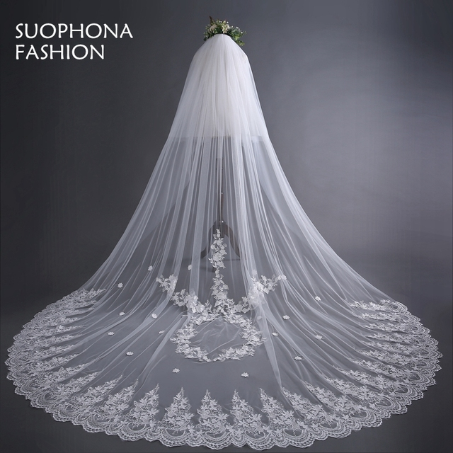 Fashion Sluier White One Layer Tulle Lace Edge Long Beautiful Bridal Veil Cheap Wedding