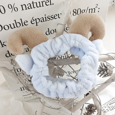 Super cute adorable face headband stereo horn sell mask makeup soft Hair Sponge filling