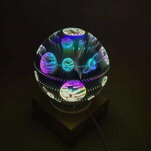 Image 2 - 3D magiczne z kulami kryształowymi lampka nocna kolorowe lampy stołowe USB Power Butterfly Snowflake Universe Rose Lover Home prezenty dla dzieci