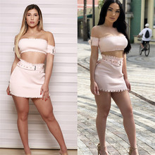 купить 2018 Summer Women 2 Piece Skirt And Top Short Sleeve Off Shoulder Crop Top Two Piece Sets Ribbed Mini Skirt Sexy Party Clubwear дешево