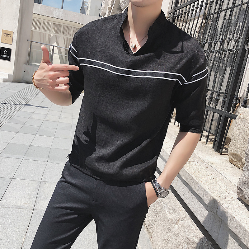 Casual Thin Solid Color Chiffon Pullover Men Slim Shirt 2018 Summer Plicated Striped Short Sleeve Lapel Male Ventilate Shirt