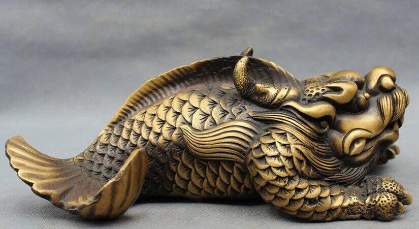 Figurine en Bronze chinois sculpté à la tête de Dragon FengShui